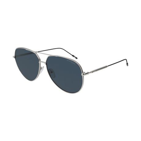 Men's Metal Pilot Sunglasses // Silver