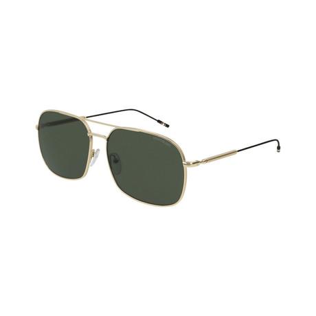 Men's Metal Rectangular Pilot Sunglasses // Gold
