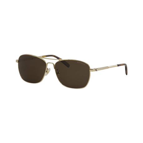 Men's Rectangular Aviator Sunglasses // Gold