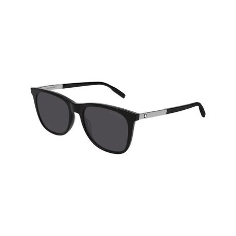 Men's Rectangular Frame Sunglasses // Black + Silver