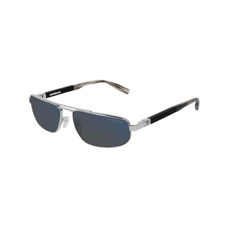 Men's Narrow Rectangular Sunglasses // Silver