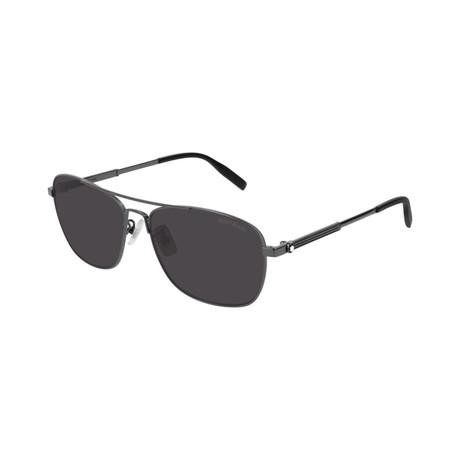 Men's Rectangular Aviator Sunglasses // Black I