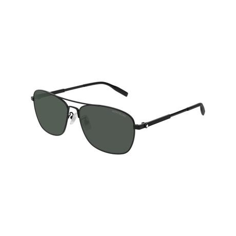 Men's Rectangular Aviator Sunglasses // Black II