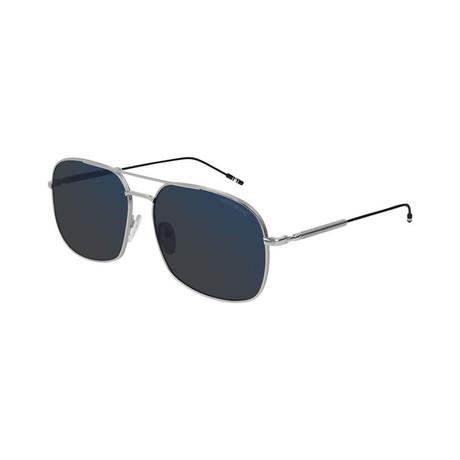 Men's Metal Rectangular Pilot Sunglasses // Silver