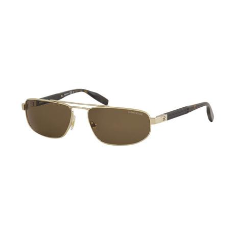 Men's Narrow Rectangular Sunglasses // Gold
