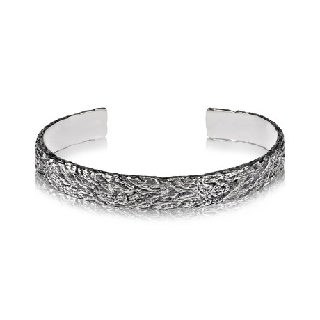 "Tree Trunk Bangle // Silver (7"")"