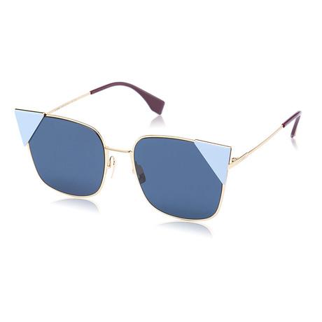 Unisex Cat-Eye Sunglasses // Rose Gold + Blue Mirror