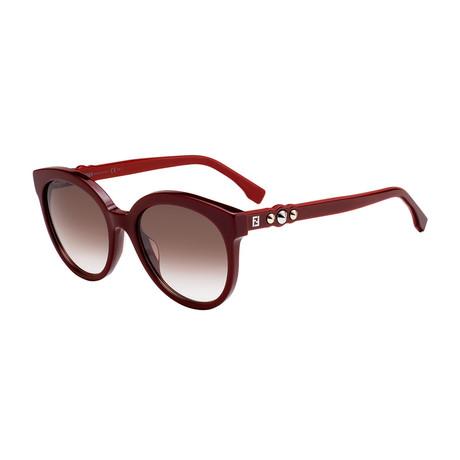 Unisex 0268 Sunglasses // Burgundy + Brown Silver Mirror