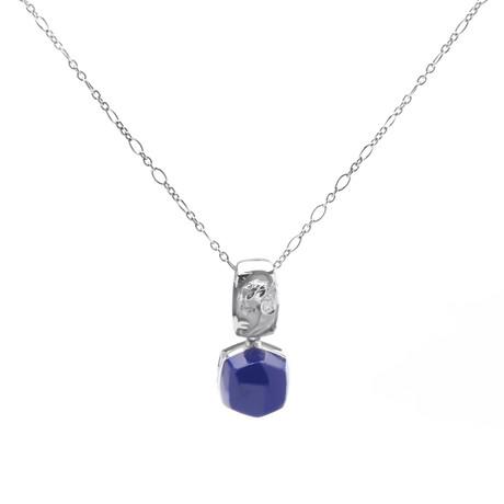 Magerit Babylon Caramelo 18k White Gold Diamond + Lapis Lazuli Necklace