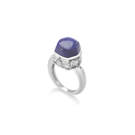 Magerit Babylon Caramelo 18k White Gold Diamond + Lapis Lazuli Ring // Ring Size: 7