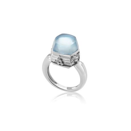 Magerit Babylon Caramelo 18k White Gold Diamond + Topaz Ring // Ring Size: 6.25