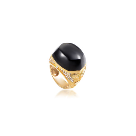 Magerit Babylon Caramelo 18k Yellow Gold Diamond + Onyx Ring // Ring Size: 7