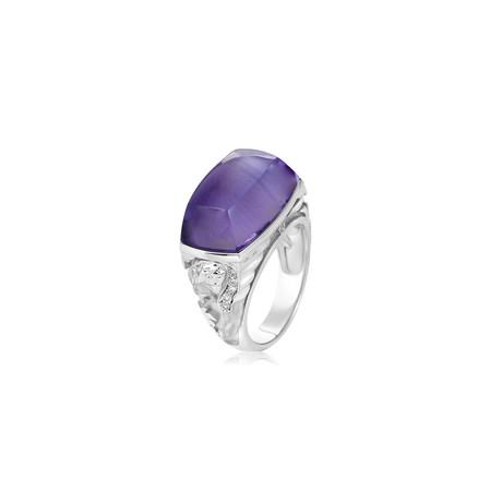 Magerit Babylon Caramelo 18k White Gold Diamond + Amethyst Ring (Ring Size: 6.75)