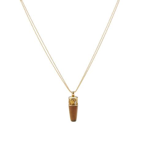 Magerit Babylon Caramelo 18k Yellow Gold Diamond + Cognac Quartz Necklace