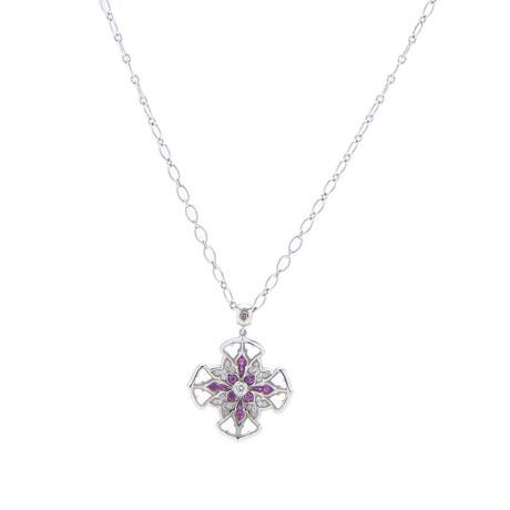 Magerit Vitral Vidriera Cross 18k White Gold Diamond + Pink Sapphire Necklace