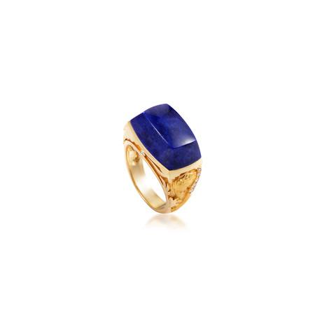 Magerit Babylon 18k Yellow Gold Diamond + Lapis Lazuli Ring // Ring Size: 7