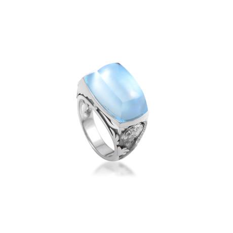 Magerit Babylon Caramelo 18k White Gold Multi-Stone Ring (Ring Size: 6.75)