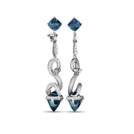 Magerit Mythology Snake 18k White Gold Multi-Stone Earrings