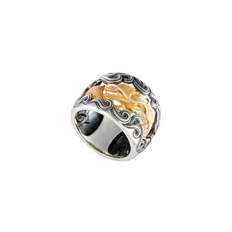 Magerit Leyenda Ciclon 18k Yellow Gold + Sterling Silver + Black Rhodium Ring (Ring Size: 6.75)