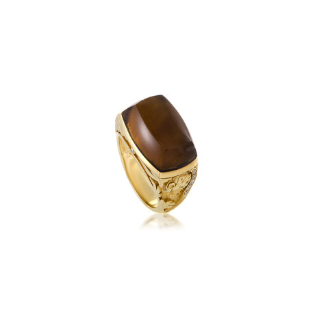 Magerit Babylon Caramelo 18k Yellow Gold Diamond + Smoky Quartz Ring // Ring Size: 7