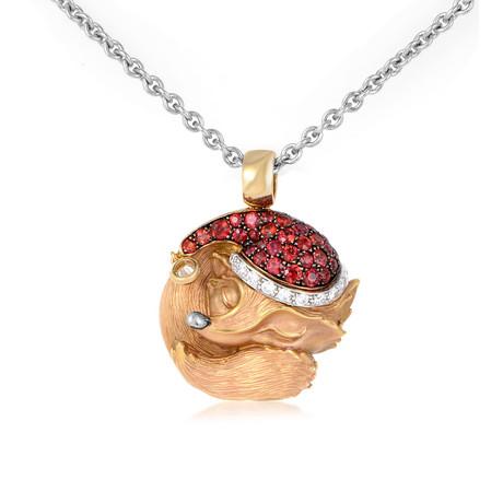 Magerit Tender Sleeping Fox 18k Yellow Gold Diamond + Sapphire Necklace
