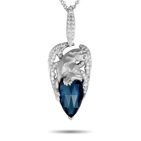 Magerit Vitral Gargol 18k White Gold Diamond + London Blue Topaz Necklace