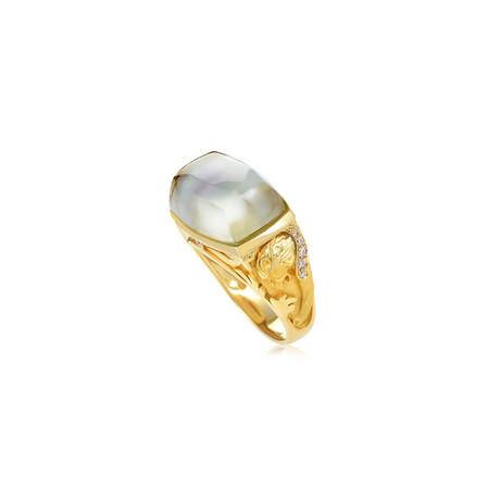 Magerit Babylon Caramelo 18k Yellow Gold Diamond + Green Quartz Ring // Ring Size: 7