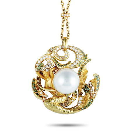 Magerit Atlantis Sirena Perla 18k Yellow Gold White Diamond + Green Diamond Necklace
