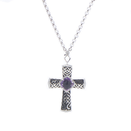 Magerit Gothic Cross 18k White Gold Diamond + Amethyst Necklace