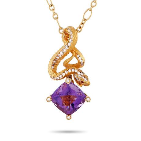 Magerit Snake Rombo 18k Yellow Gold Multi-Stone Necklace