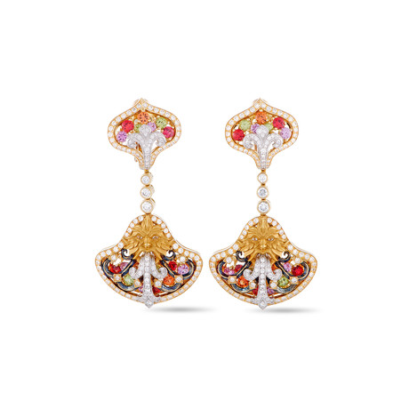 Magerit Fuente Big Versalles 18k Yellow Gold Multi-Stone Earrings