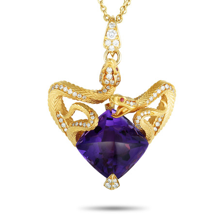 Magerit Mythology Snake Heart 18k Yellow Gold Multi-Stone Necklace