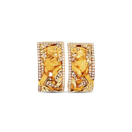 Magerit Puma 18k Yellow Gold Diamond Earrings