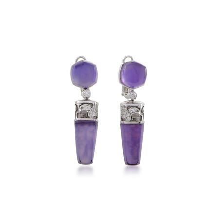 Magerit Babylon Caramelo 18k White Gold Diamond + Amethyst Earrings II