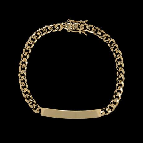 Semi-Solid 10K Yellow Gold Miami Cuban ID Bracelet // 5.5mm