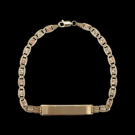 Solid 14K Gold Celestial Three-Color Diamond Cut ID Bracelet