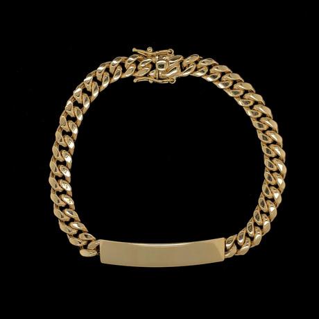 Semi-Solid 10K Yellow Gold Miami Cuban ID Bracelet // 7.5mm