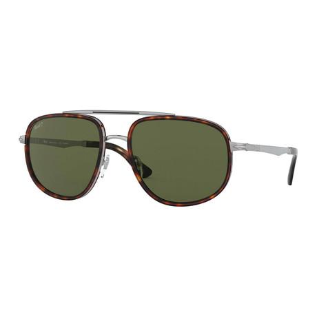 Men's Metal Aviator Sunglasses // Gunmetal + Havana + Green