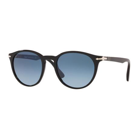 Round Sunglasses // Black + Blue Gradient