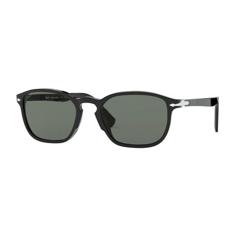 Classic Polarized Rectangle Sunglasses V2 // Black + Green