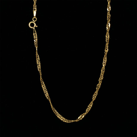 """Hollow 10K Yellow Gold Singapore Chain Necklace // 2mm (16"""" // 1.5g)"""