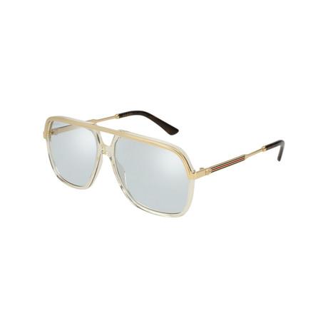 Men's Rectangular Pilot Sunglasses // Yellow