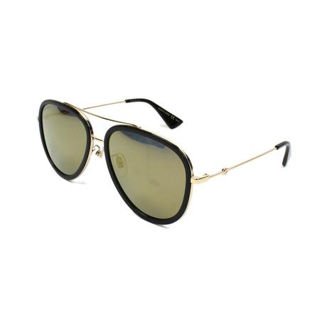 Men's Web Pilot Aviator Sunglasses // Gold Flash