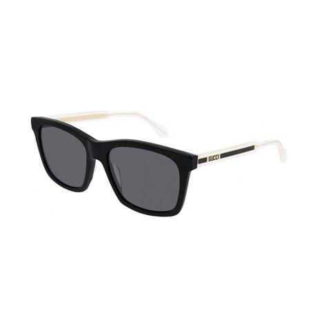Men's Rectangular Sunglasses // Black + Cream