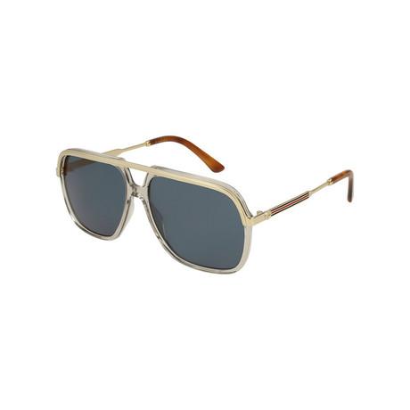 Men's Rectangular Pilot Sunglasses // Brown