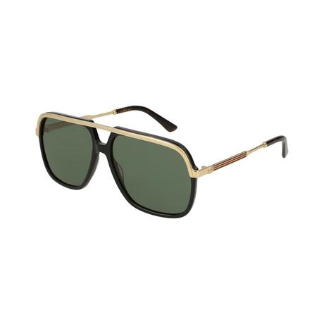 Men's Rectangular Pilot Sunglasses // Black