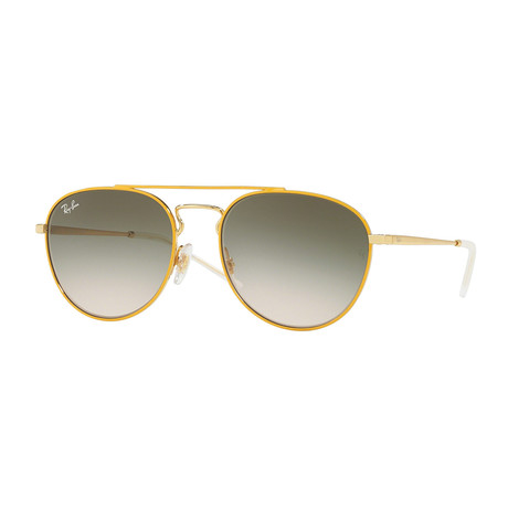 Men's Double Bridge Sunglasses // Yellow Gold + Green Gradient