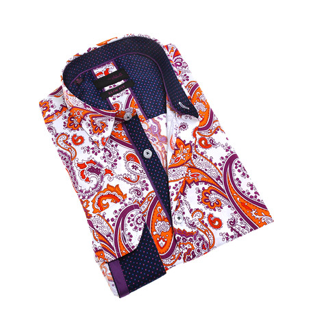 Evan Button-Up Shirt // White + Orange (S)