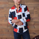 Marcus Button-Up Shirt // Navy + Red + White (S)