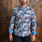 Cole Button-Up Shirt // Red + Blue (M)